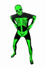 Morphsuit - Leucht Skelett - Ganzkörperanzug - Glow In The Dark - Masken